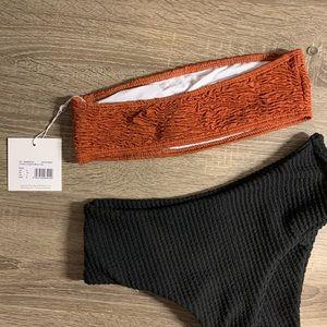 Missguided Swim - Rust Crinkle Bandeau Bikini Top